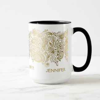 Caneca Ouro elegante e Paisley branco