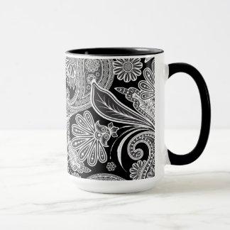 Caneca Paisley ornamentado preto & branco