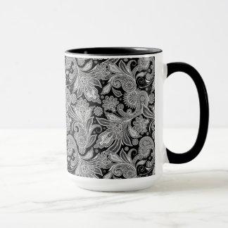 Caneca Paisley ornamentado preto & branco 2