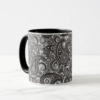 Caneca Paisley preto & branco