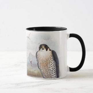 Caneca Pássaros de John Gould do falcão de peregrino de