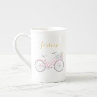 Caneca Pastel bonito de China da bicicleta da flor
