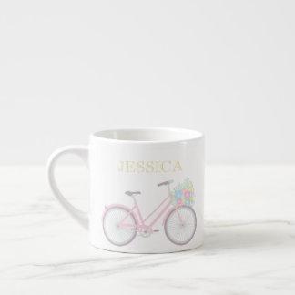 Caneca Pastel bonito do café da bicicleta da flor