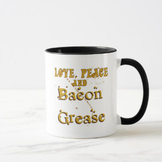 Caneca Paz do amor & graxa do bacon