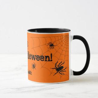 Caneca personalizada do Dia das Bruxas aranhas