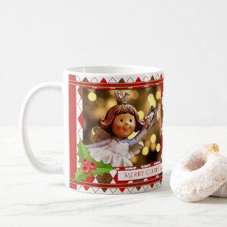 Caneca personalizada do Natal do anjo da foto