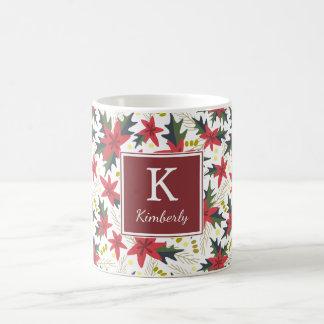 Caneca personalizada do Natal teste padrão floral