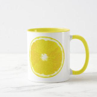 Caneca Pintura de Digitas da fatia do limão