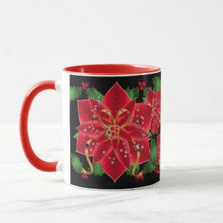 Caneca Poinsétias & azevinho Caneca-Vermelhos do Natal