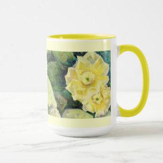 Caneca Presente amarelo da flor da flor do cacto