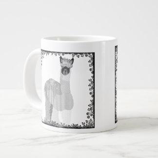 Caneca preta & branca da arte da alpaca caneca de café muito grande