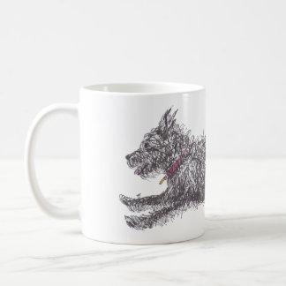 Caneca preta desalinhado de Runing Terrier