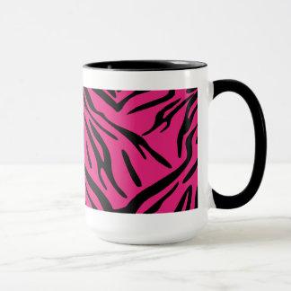 Caneca preta e cor-de-rosa da listra da zebra