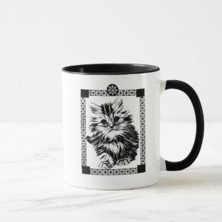 Caneca Preto & branco do copo de café do gatinho da
