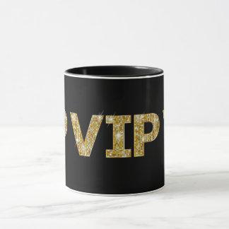 Caneca Preto & brilho VIP do ouro