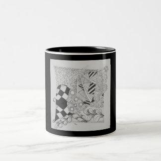 Caneca preto e branco do design original do zen