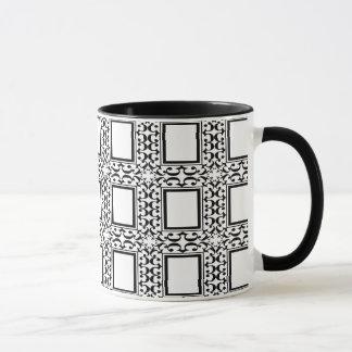 Caneca preto e branco ornamentado