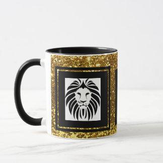 Caneca Preto sofisticado na moda & branco do ouro do leão