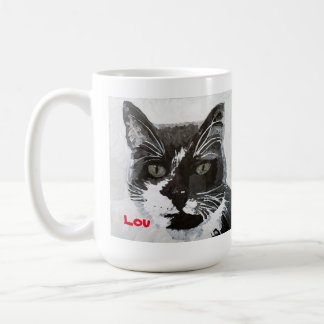 """Caneca principal da arte do gato de """"Lou"""" -"""