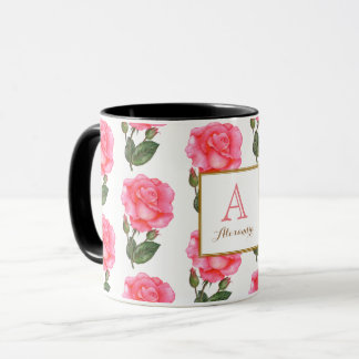 Caneca Quadrado floral do monograma da arte dos rosas
