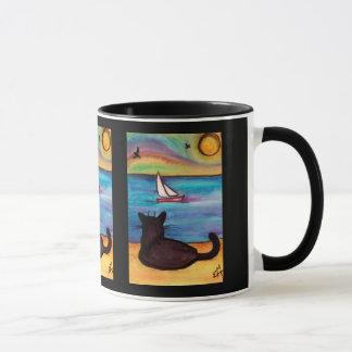 Caneca Relógio do veleiro do gato preto