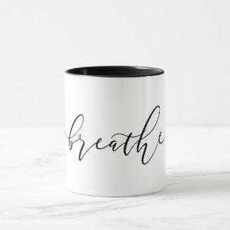 Caneca Respire a ioga Minimalistic da meditação