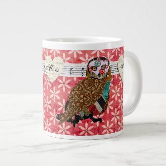 Caneca retro da mamã da flor da coruja cor-de-rosa caneca de café muito grande