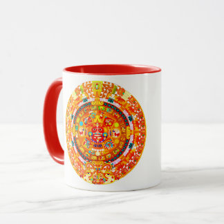 Caneca rojos dos tonos do en do azteca do calendario do