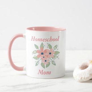 Caneca Rosa e branco da mamã de Homeschool das flores
