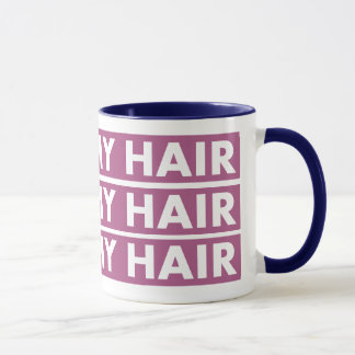 Caneca Roxo eu amo meu entalhe do texto do cabelo