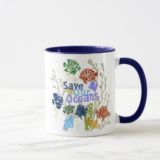 Caneca Salvar nosso copo de café náutico do recife de