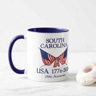 Caneca SC de South Carolina do aniversário dos EUA 250th