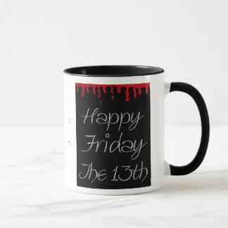 Caneca Sexta-feira feliz o 13o copo de café do Spatter do