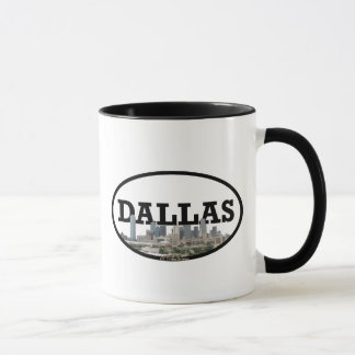 Caneca Skyline de Dallas Texas com a Dallas no céu