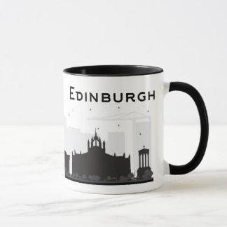 Caneca Skyline preto e branco de Edimburgo Scotland |