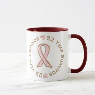 Caneca Sobrevivente cor-de-rosa do cancro da mama da fita