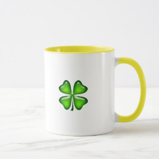 Caneca Sorte verde afortunada do trevo do trevo irlandês