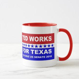 Caneca Ted trabalha para o projeto branco de Texas e azul