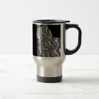 Caneca Térmica Abstract Black and White Cat Swirl Monochroom