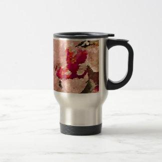 Caneca Térmica Abstrato vermelho e branco da orquídea