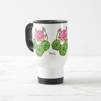 Caneca Térmica Aguarela Lotus cor-de-rosa com botões & folhas