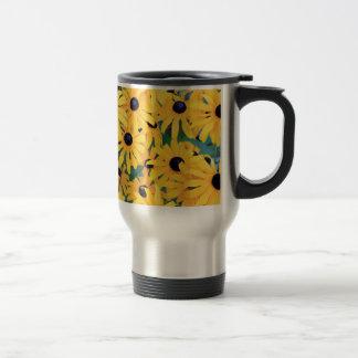 Caneca Térmica Amarelo das flores de Susan de olhos pretos dentro