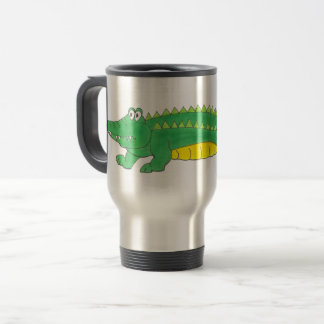 Caneca Térmica Animal amarelo verde do crocodilo de Croc do