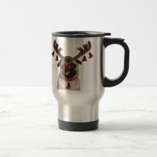 Caneca Térmica Antlers do Pug - pug do Natal - Feliz Natal