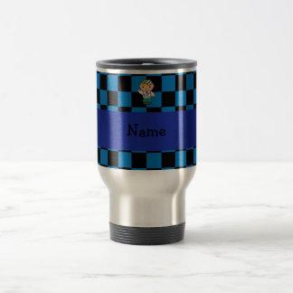 Caneca Térmica Azul conhecido personalizado do doutor checkered