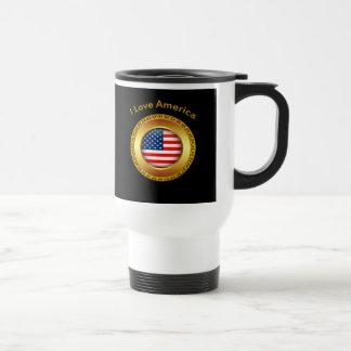 Caneca Térmica Bandeira americana da nação com um quadro do ouro