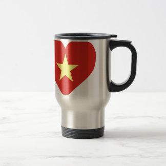 Caneca Térmica Bandeira de Vietnam - vàng do sao do đỏ do amor