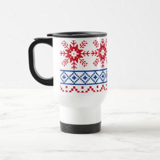 Caneca Térmica Beiras nórdicas do floco de neve do Natal