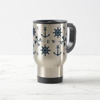 Caneca Térmica Branco do marinho das âncoras & do compasso da