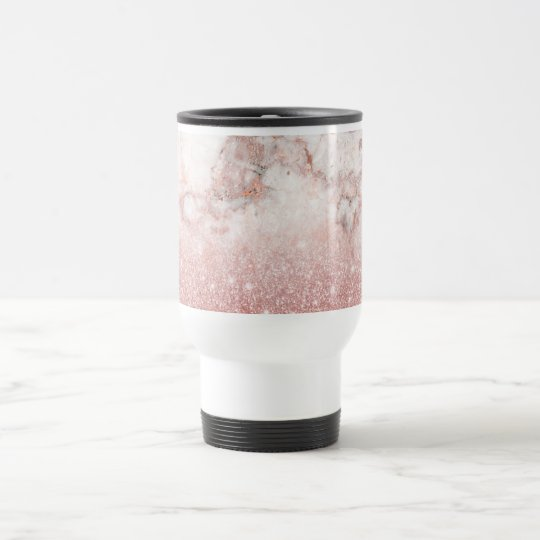 Caneca Térmica Brilho cor-de-rosa Ombre de mármore branco do ouro